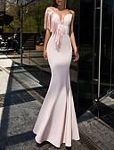 Χαμηλού Κόστους Φορέματα NYE-Τρομπέτα / Γοργόνα Βυθίζοντας το λαιμό Μακρύ Σατέν Κομψό Επίσημο Βραδινό Φόρεμα 2020 με Φούντα