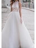 Χαμηλού Κόστους Νυφικά-Γραμμή Α Δένει στο Λαιμό Ασύμμετρο Δαντέλα / Τούλι Κανονικοί ιμάντες Φορέματα γάμου φτιαγμένα στο μέτρο με Κέντημα / Εισαγωγή δαντέλας 2020