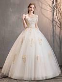 billiga Brudklänningar-Balklänning Off shoulder Golvlång Spets / Tyll Kortärmad Bröllopsklänningar tillverkade med Bård / Applikationsbroderi 2020