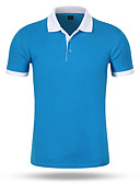 baratos Pólos Masculinas-Homens Polo Sólido Colarinho de Camisa Azul / Manga Curta