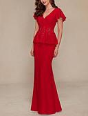 Χαμηλού Κόστους Βραδινά Φορέματα-Ίσια Γραμμή Βυθίζοντας το λαιμό Ουρά Σιφόν Κομψό Επίσημο Βραδινό Φόρεμα 2020 με Βολάν / Εισαγωγή δαντέλας με Lightinthebox