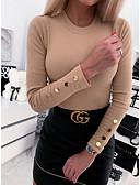 baratos Suéteres de Mulher-Mulheres Sólido Manga Longa Pulôver Camisola Jumper Branco / Azul / Cinzento S / M / L