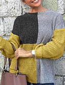 baratos Suéteres de Mulher-Mulheres Estampa Colorida Manga Longa Pulôver Camisola Jumper, Decote Redondo Preto / Amarelo S / M / L