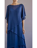 baratos Vestidos para as Mães dos Noivos-Linha A Bateau Neck Longo Chiffon Meia Manga Elegante & Luxuoso Vestido Para Mãe dos Noivos com Camada / Babados em Cascata 2020