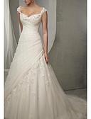 Χαμηλού Κόστους Νυφικά-Γραμμή Α Καρδιά Ουρά μέτριου μήκους Τούλι Κανονικοί ιμάντες Φορέματα γάμου φτιαγμένα στο μέτρο με Χάντρες / Διακοσμητικά Επιράμματα / Πιασίματα 2020