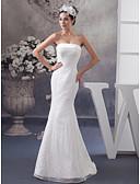 billiga Brudklänningar-Trumpet / sjöjungfru Axelbandslös Hovsläp Spets / Satäng Axelbandslös Bröllopsklänningar tillverkade med Spetsinlägg 2020