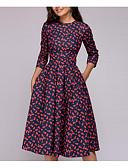 Χαμηλού Κόστους Print Dresses-Γυναικεία Εξόδου Γραμμή Α Φόρεμα - Φλοράλ, Στάμπα Μίντι