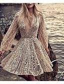 Χαμηλού Κόστους Φορέματα NYE-Γυναικεία Πάρτι Γκλίτερ Πάρτι Σέξι Φουσκωτό Μπαλόνι Λεπτό Θήκη Φόρεμα - Μονόχρωμο Αστραφτερό Γκλίτερ, Πούλιες Βαθύ V Openwork Πάνω από το Γόνατο Βαθύ V