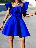 Χαμηλού Κόστους Φορέματα κοκτέιλ-Γραμμή Α Τετράγωνη Λαιμόκοψη Κοντό / Μίνι Σατέν Κομψό Κοκτέιλ Πάρτι / Αργίες Φόρεμα 2020 με Ζώνη / Κορδέλα / Βολάν με Lightinthebox