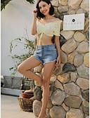 baratos Camisas Femininas-Mulheres Moda de Rua Shorts Calças - Sólido Franjas Azul Claro Azul S M L