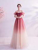 Χαμηλού Κόστους Βραδινά Φορέματα-Γραμμή Α Ώμοι Έξω Μακρύ Τούλι Φανταχτερό Χοροεσπερίδα Φόρεμα 2020 με Πούλιες