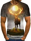 baratos Camisetas & Regatas Masculinas-Homens Camiseta 3D / Arco-Íris Laranja
