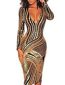 Χαμηλού Κόστους Φορέματα NYE-Γυναικεία Θήκη Φόρεμα - Ριγέ Μίντι