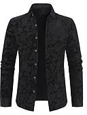 olcso Férfi pólók-Luxus / Alap Férfi Pamut Ing - Virágos / Egyszínű, Nyomtatott Fekete / Hosszú ujj