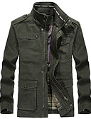 Χαμηλού Κόστους Αντρικές Μπλούζες με Κουκούλα & Φούτερ-Ανδρικά Καθημερινά Κανονικό Σακάκι, Μονόχρωμο Όρθιος Γιακάς Μακρυμάνικο Πολυεστέρας Μαύρο / Πράσινο Χακί / Χακί