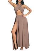 povoljno Ženske haljine-Žene Ulični šik Elegantno Korice Swing kroj Haljina - Izrezati S izrezom Kolaž, Jednobojni Maxi