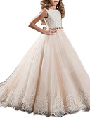 Χαμηλού Κόστους Λουλουδάτα φορέματα για κορίτσια-Βραδινή τουαλέτα Ουρά Φόρεμα για Κοριτσάκι Λουλουδιών - Πολυεστέρας Αμάνικο Χαμόγελο με Φιόγκος(οι) / Δαντέλα / Κόψιμο