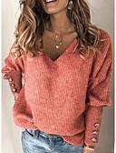 olcso Női pulóverek-Női Egyszínű Hosszú ujj Pulóver Pulóver jumper, V-alakú Fehér / Medence / Rubin S / M / L