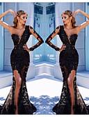 Χαμηλού Κόστους Βραδινά Φορέματα-Τρομπέτα / Γοργόνα Ένας Ώμος Ουρά μέτριου μήκους Τούλι Κομψό Επίσημο Βραδινό Φόρεμα 2020 με Διακοσμητικά Επιράμματα / Με Άνοιγμα Μπροστά με JUDY&JULIA