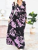 Χαμηλού Κόστους Casual Φορέματα-Γυναικεία T Shirt Φόρεμα - Φλοράλ Μακρύ