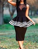 Χαμηλού Κόστους Φορέματα κοκτέιλ-Ίσια Γραμμή Με Κόσμημα Κάτω από το γόνατο Πολυεστέρας Μικρό Μαύρο Φόρεμα Κοκτέιλ Πάρτι / Αργίες Φόρεμα 2020 με Βολάν με Lightinthebox