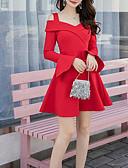 baratos Mini Vestidos-Mulheres Básico Evasê Vestido - Frente Única, Sólido Assimétrico Acima do Joelho