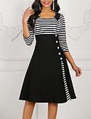 baratos Vestidos de Mulher-Mulheres Sofisticado Elegante Evasê Vestido - Patchwork, Listrado Altura dos Joelhos