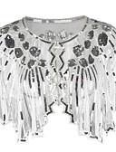 billige Historiske kostymer og vintagekosty,re-The Great Gatsby Retro / vintage 1920s Maskerade Dame Paljetter Tyll Palliet Kostume Svart / Gylden / Hvit Vintage Cosplay Fest Halloween / Sjal