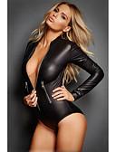 ราคาถูก ชุดเซ็กซี่-สำหรับผู้หญิง ซิป ซูเปอร์เซ็กซี่ บอดี้สูท เสื้อนอน สีพื้น สีดำ S M L
