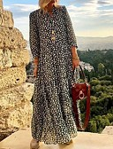 baratos Vestidos Longos-Mulheres Elegante Reto Vestido Poá Longo