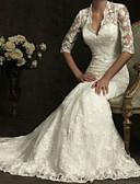 billiga Brudklänningar-Åtsmitande V-hals Svepsläp Spets Halvlång ärm Bröllopsklänningar tillverkade med 2020