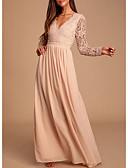 Χαμηλού Κόστους Φορέματα Παρανύμφων-Γραμμή Α Βυθίζοντας το λαιμό Μακρύ Σιφόν / Δαντέλα Φόρεμα Παρανύμφων με Δαντέλα / Πλισέ / Ανοικτή Πλάτη
