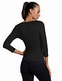 ราคาถูก เสื้อยืดและเสื้อกล้ามผู้ชาย-สำหรับผู้หญิง ขนาดพิเศษ เสื้อเชิร์ต คอวี เพรียวบาง สีพื้น สีดำ