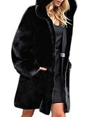 Χαμηλού Κόστους Women's Fur & Faux Fur Coats-Γυναικεία Καθημερινά Φθινόπωρο & Χειμώνας Κανονικό Faux Fur Coat, Μονόχρωμο Με Κουκούλα Μακρυμάνικο Ψεύτικη Γούνα Μαύρο