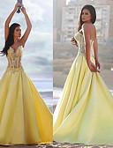 Χαμηλού Κόστους Φορέματα Χορού Αποφοίτησης-Γραμμή Α Καρδιά Ουρά μέτριου μήκους Σατέν Χοροεσπερίδα Φόρεμα με Διακοσμητικά Επιράμματα με JUDY&JULIA