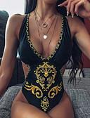 baratos Vestidos de Mulher-Mulheres Preto Amarelo Maiô Roupa de Banho - Geométrica S M L Preto
