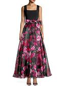 Χαμηλού Κόστους Φορέματα Ξεχωριστών Γεγονότων-Γραμμή Α Scoop Neck Μέχρι τον αστράγαλο Οργάντζα Λουλουδάτο Χοροεσπερίδα Φόρεμα 2020 με Σχέδιο / Στάμπα