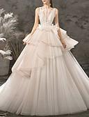billiga Brudklänningar-Balklänning V-hals Golvlång Polyester Regelbundna band Bröllopsklänningar tillverkade med Fallande volanger 2020