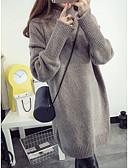povoljno Ženske haljine-Žene Jednobojni Dugih rukava Pullover Džemper od džempera, Dolčevita Lila-roza / Djetelina / Tamno siva One-Size