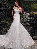 billiga Brudklänningar-Trumpet / sjöjungfru Off shoulder Hovsläp Spets / Tyll Kortärmad Bröllopsklänningar tillverkade med 2020