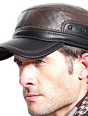 Χαμηλού Κόστους Men's Hats-Ανδρικά Μονόχρωμο Βασικό PU Καπέλο με δέρμα προβάτου Χειμώνας Μαύρο Καφέ