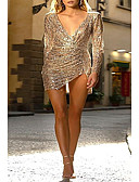 baratos Mini Vestidos-Mulheres Básico Bainha Vestido Sólido Mini
