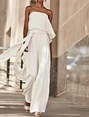 olcso Női kezeslábasok és overállok-Női Utcai sikk Fehér Jumpsuitek Egyrészes, Egyszínű Kollázs S M L