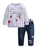 Χαμηλού Κόστους Σετ ρούχων για κορίτσια-Παιδιά Κοριτσίστικα Βασικό Κινούμενα σχέδια Μακρυμάνικο Σετ Ρούχων Γκρίζο