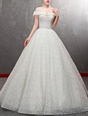 billiga Brudklänningar-A-linje Off shoulder Golvlång Tyll Kortärmad Bröllopsklänningar tillverkade med Bård 2020