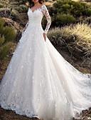 billiga Brudklänningar-A-linje V-hals Hovsläp Spets / Tyll Långärmad Sexig Öppen rygg Bröllopsklänningar tillverkade med Knappar 2020