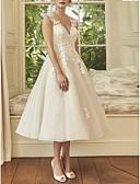 billiga Brudklänningar-A-linje V-hals Midi Spets / Tyll Regelbundna band Bröllopsklänningar tillverkade med 2020