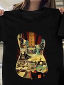 Χαμηλού Κόστους Ανδρικά μπλουζάκια και φανελάκια-Ανδρικά T-shirt Κινούμενα σχέδια Στρογγυλή Λαιμόκοψη Στάμπα Μαύρο / Κοντομάνικο