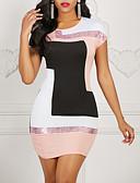 baratos Vestidos de Mulher-Mulheres Básico Delgado Bainha Vestido - Patchwork, Estampa Colorida Altura dos Joelhos