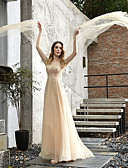 billiga Brudklänningar-A-linje Prydd med juveler Svepsläp Tyll 3/4 ärm Bröllopsklänningar tillverkade med Bård 2020 / Illusion
